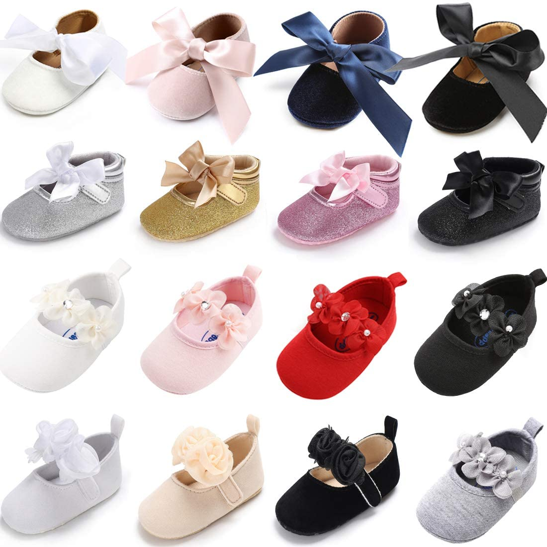 KaKaKiKi Infant Baby Girls Mary Jane Shoes Bowknot Soft Sole Non-Slip Toddler First Walkers Princess Dress Shoes