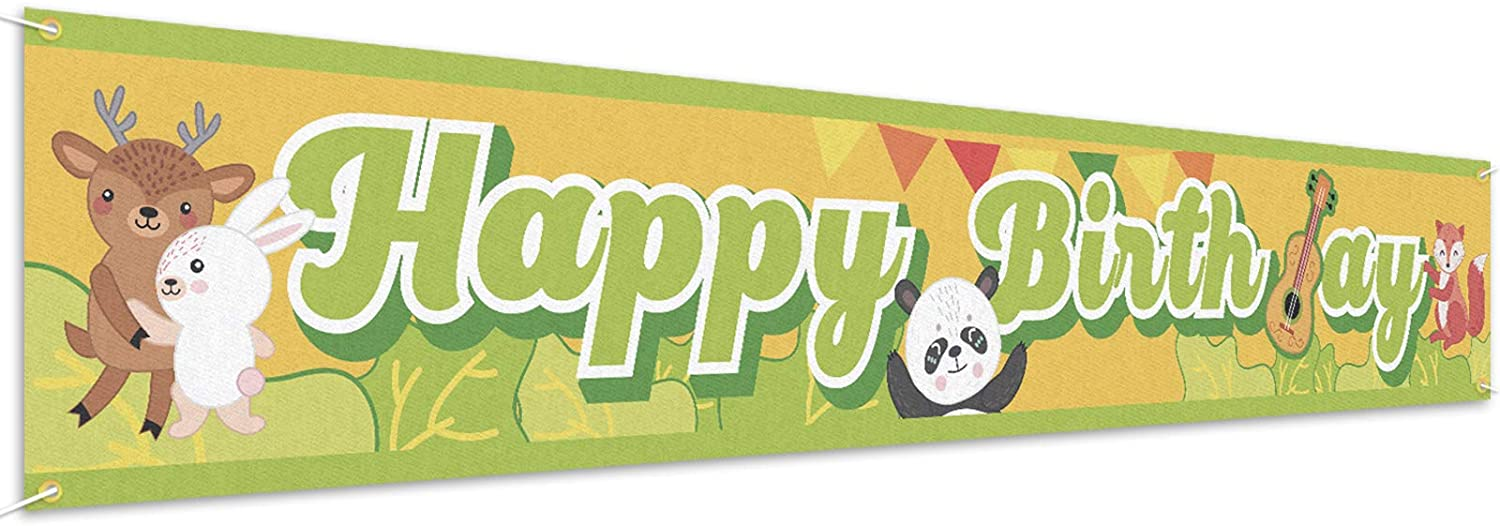 PAKBOOM Happy Birthday Banner Yard Sign Backdrop - Animal Jungle Themed Birthday Party Decorations Supplies for Boys Girls Kids - 9.8 x 1.6ft