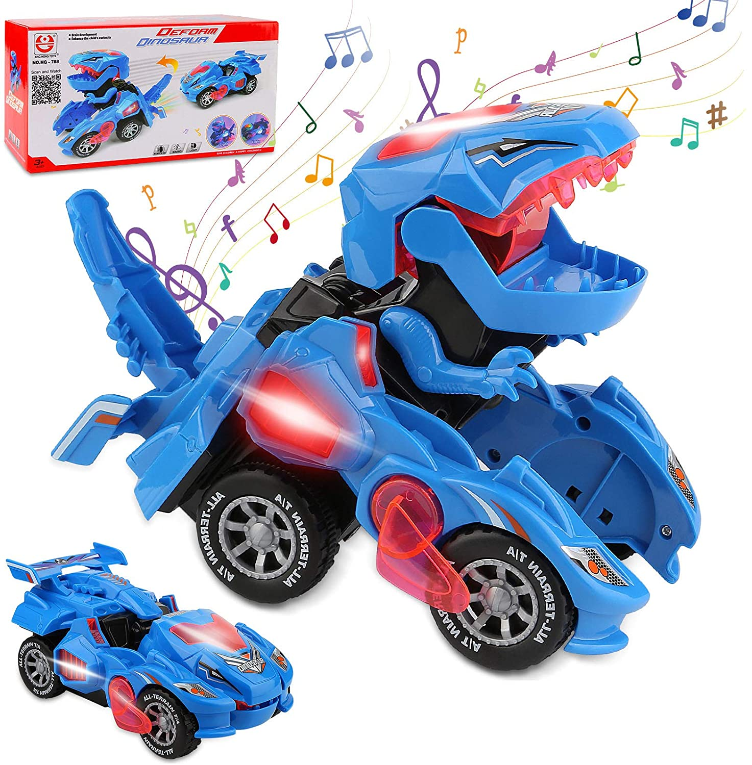 Rusee Transforming Dinosaur Toys, Rusee Transforming Dinosaur Car, Automatic Transform Dino Cars with Music and LED Light, Transform Car Toy for Kids Boys Girls Birthday Gifts (Blue)
