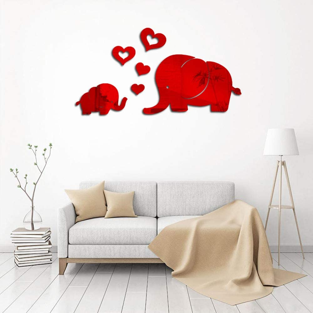 Wall Decor for Living Room, Elephant Wall Decor Mirror Sticker DIY Decal Removable Art Baby Kids Room Mural