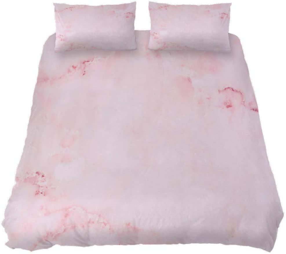 Marble Pink Print Duvet Cover 3 Pieces Kids Bedroom Comforter Quilt Sheet Cover Queen Bedding Sets with Zipper,Black