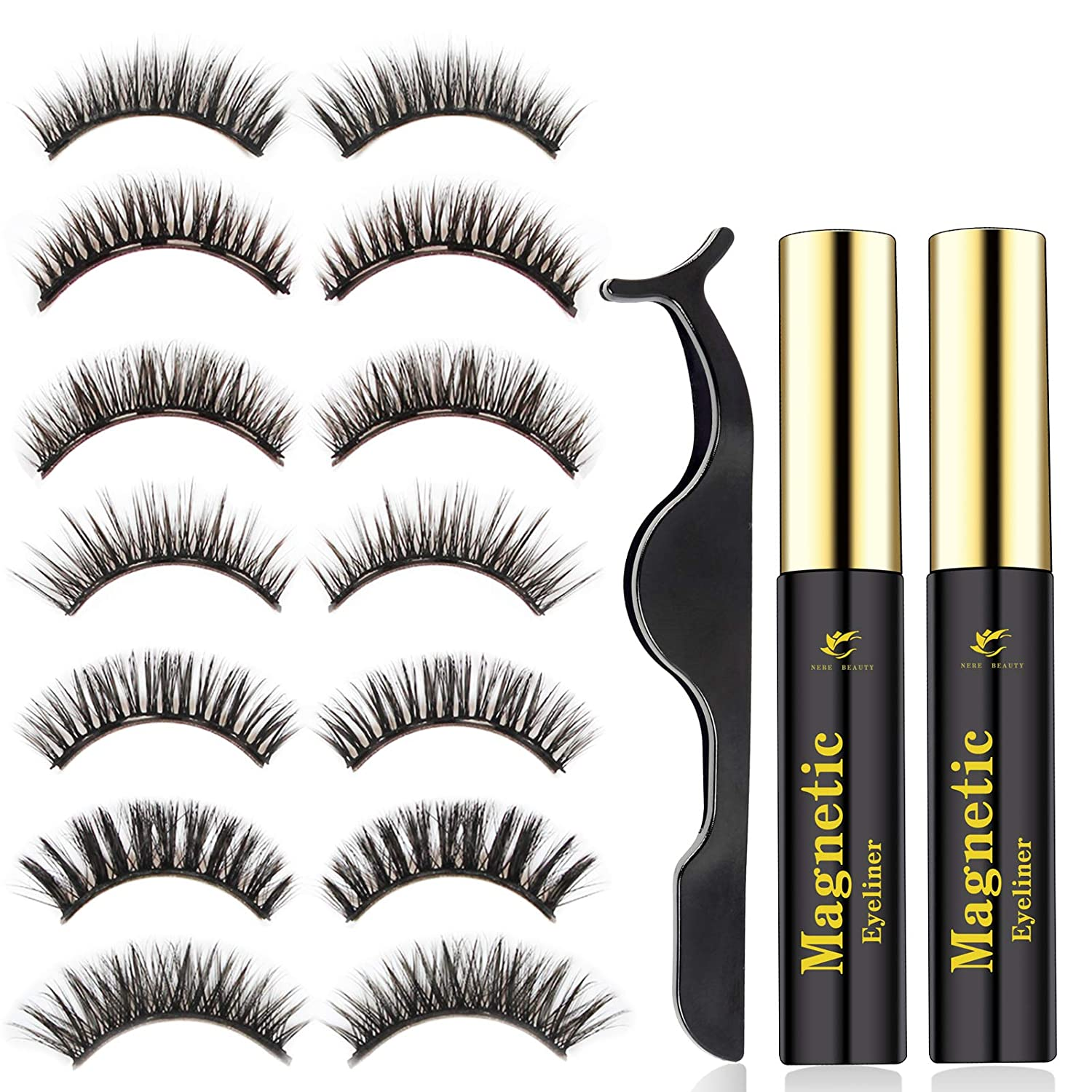 2020 Upgraded Magnetic Eyelashes and Magnetic Eyeliner Kit, Premium Magnetic Eyelashes with Tweezer, Hebe Natural and Volume Reusable False Lashes 7 pairs NERE BEAUTY