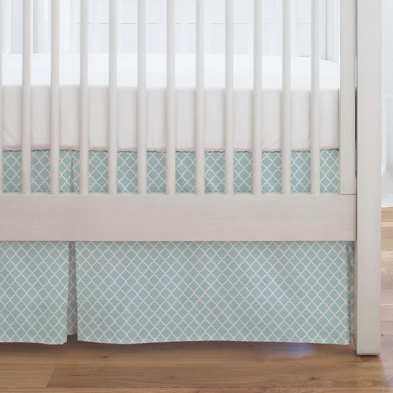 Carousel Designs Mist Moroccan Crib Skirt Single-Pleat 17-Inch Length - Organic 100% Cotton Crib Skirt - Made in The USA