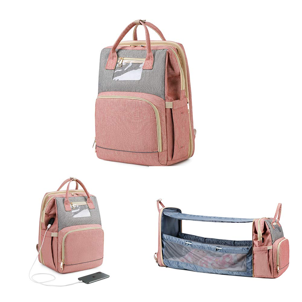 3 in 1 Baby Travel Foldable Bed Diaper Bag Backpack Portable Diaper Changing Station with USB Charge (Upgraded Pink)
