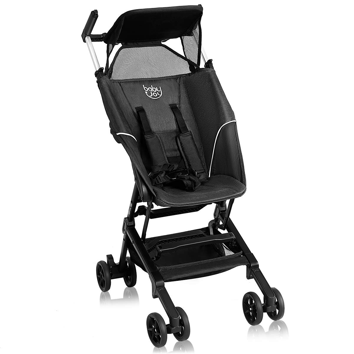 BABY JOY Pocket Stroller, Extra Lightweight Compact Folding Stroller, Aluminum Structure, Five-Point Harness, Easy Handling for Travel, Airplane Compartment, Includes Travel Bag, No Assembly, Black