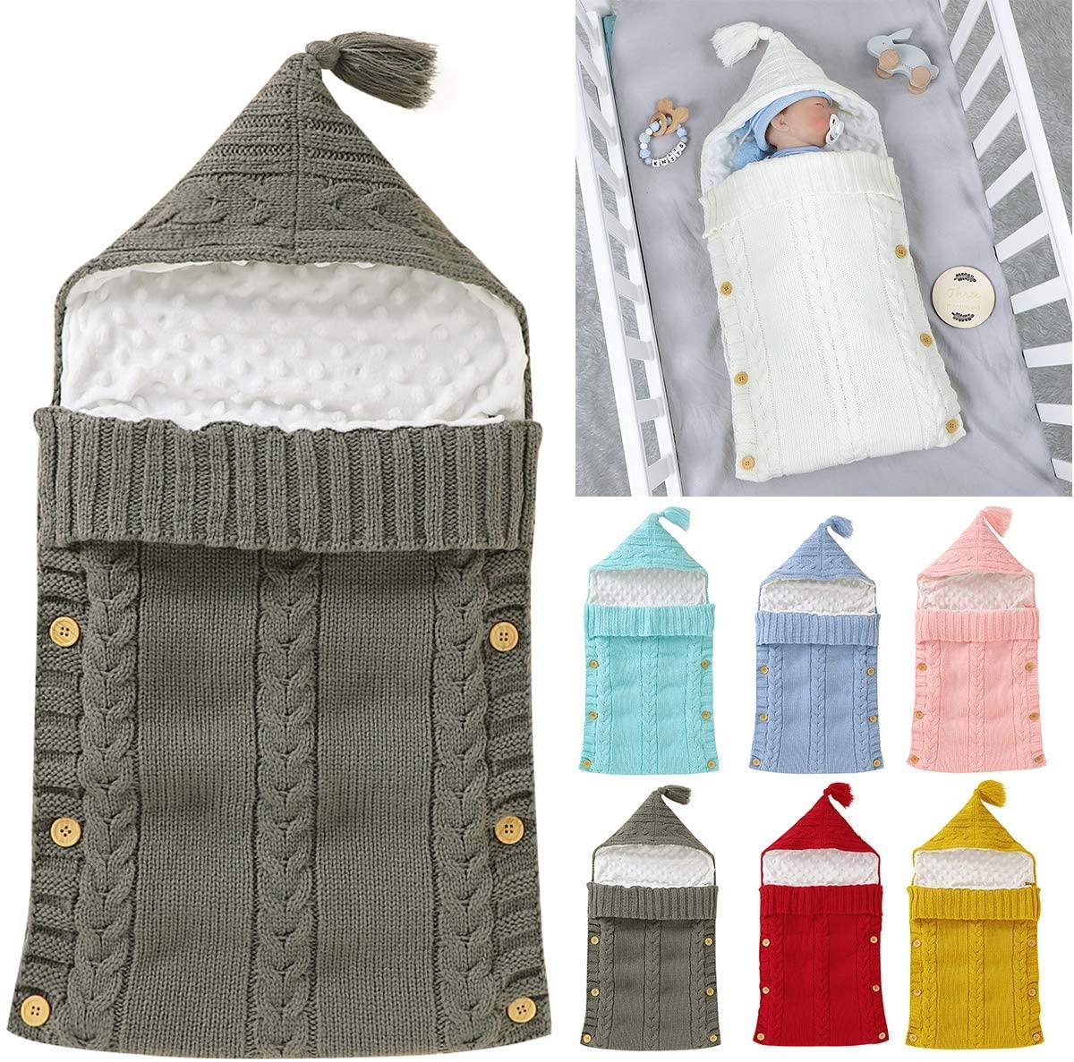 Baby Knit Sleeping Bag,Newborn Swaddle Wrap Blanket Infant Minky Dot Stroller Sleep Bag Sack for 0-6M Babies Boys Girls