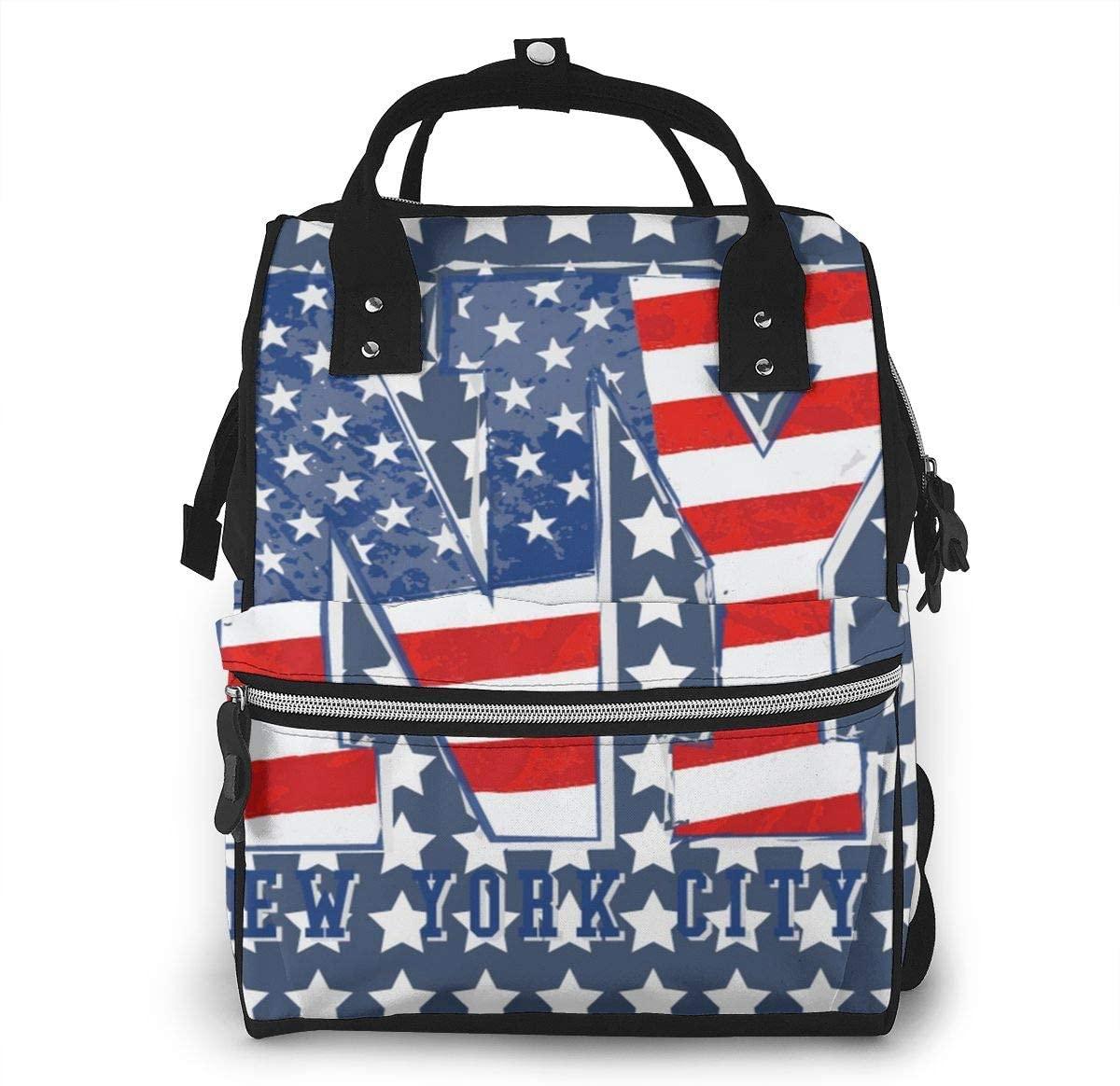 Diaper Bag Backpack Multi-Function Maternity Nappy Bags for Mom,Baby Bag,Stroller Straps-USA Patriotic American Flag New York Stars Stripes