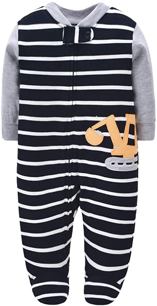 amropi Baby Boys Footed Zip-Front Sleep and Play Cotton Pajamas Print Long Sleeve Jumpsuit for 0-12 Months