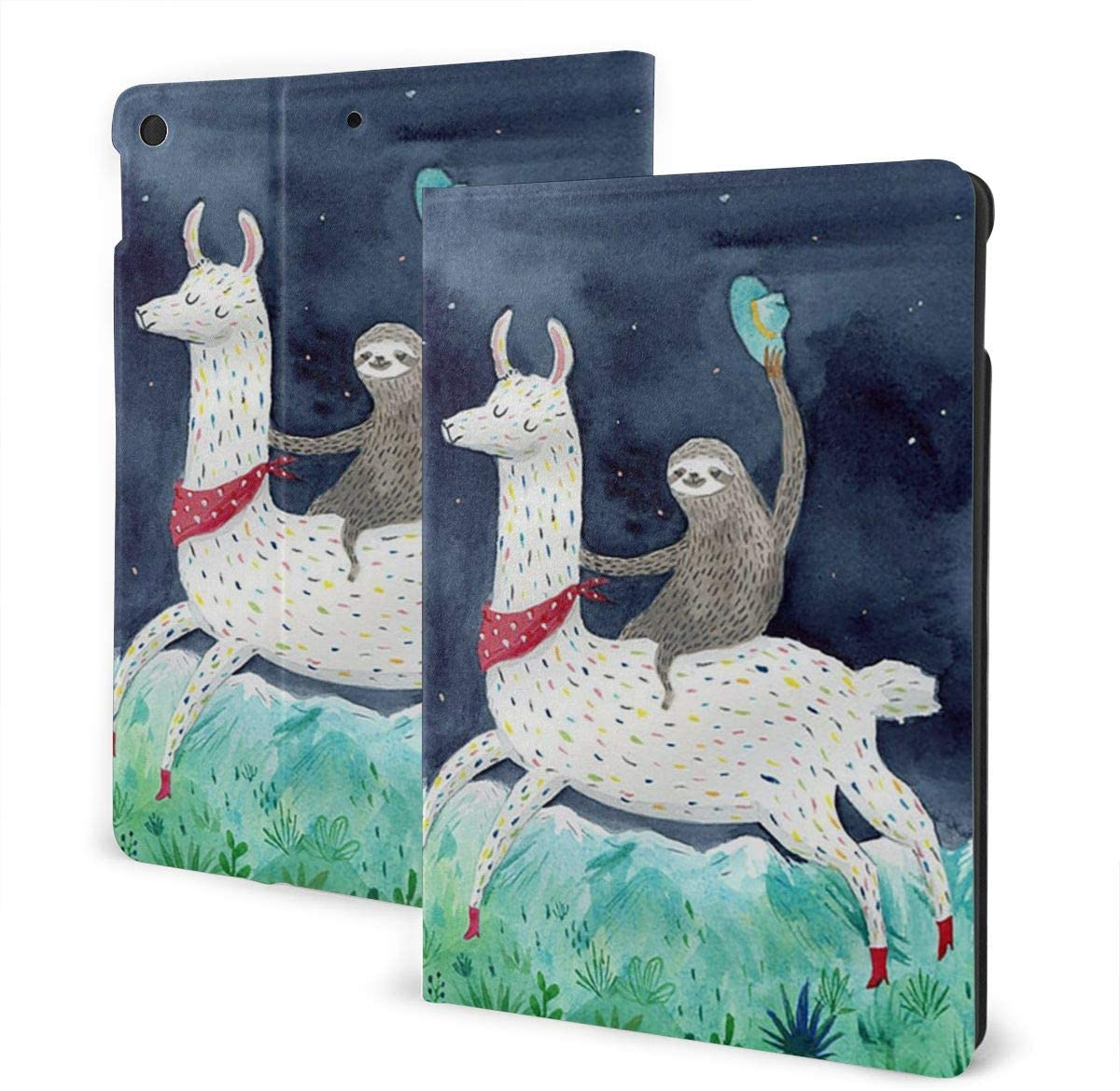 Compatible Case with iPad 7th Generation 10.2 Inch 2019 New Sloth Riding Llama Painting Rubber Back Cover Protective Case Adjustable Stand Auto Wake/Sleep Smart Case for Apple ipad