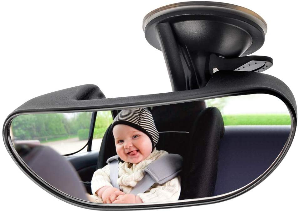 Baby Mirror for Car, GES Rear View Mirror 360 Degree Adjustable Strengthen Suction Cup Mirror for Car (5.9× 2.2Inch) - Black