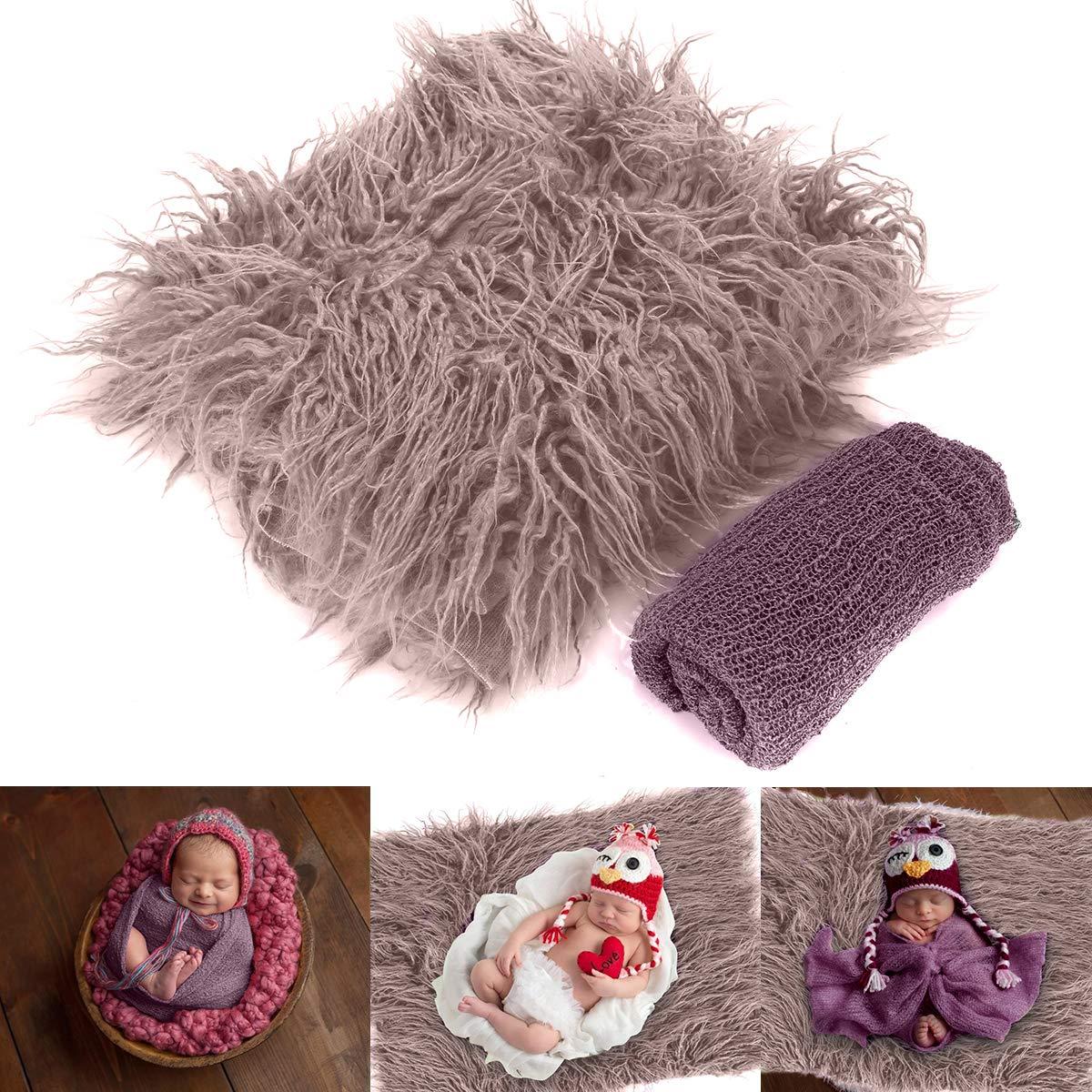 2PCS Newborn Baby Photo Props Fluffy Blanket + Ripple Wrap Set, DIY Newborn Photography Wrap Mat for Baby Boys and Girls