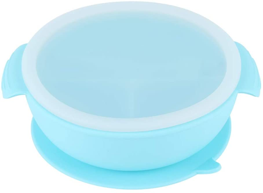 Blue Portable Infant Children Food Bowl Practical Silicone Supplementary Food Bowl Tableware with Straw/Lid
