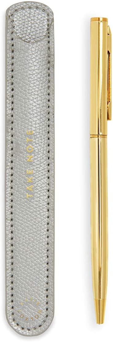 Katie Loxton Take Note Vegan Leather Pen Sleeve and Stick Pen in Silver
