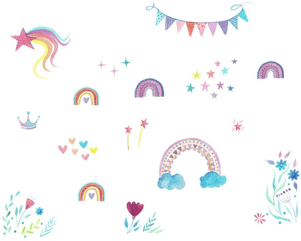 PUDOCK Rainbow Star Wall Sticker Flower Removable Mural Decor Kids Room Kindergarten Decal 8874CM