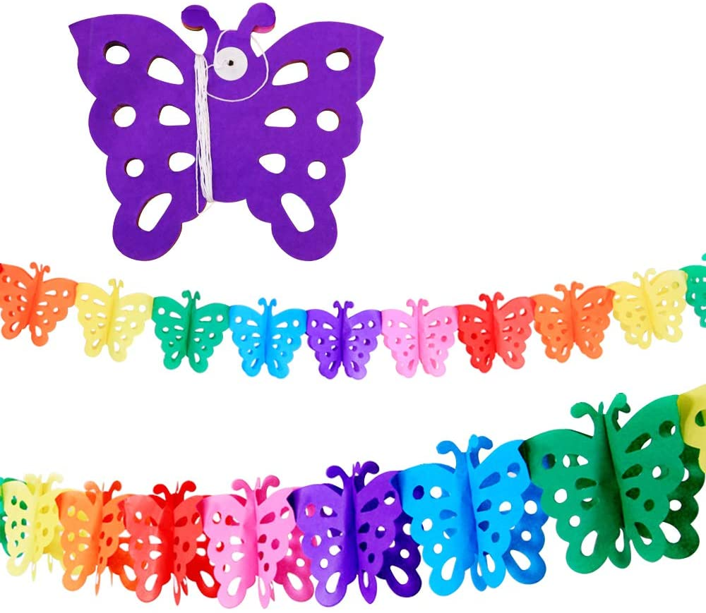 Bining 4 Pack Butterfly Papper Tissue for Baby Shower Party Supplies 3D Pull flower Banners Garland for Kids Party, Colorful Rainbow Tissue Paper Decorations Little Butterfly Shape (BUTTERFLY)