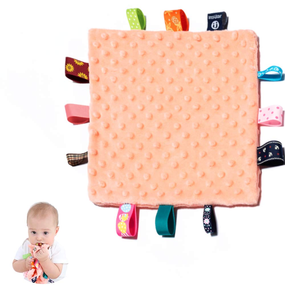 Baby Security Blanket - Appease Towel with Tags, Soft Touch Plush Blanket, Square Sensory Blanket, Fleece Blanket for Newborn, Infant and Toddler(Orange)