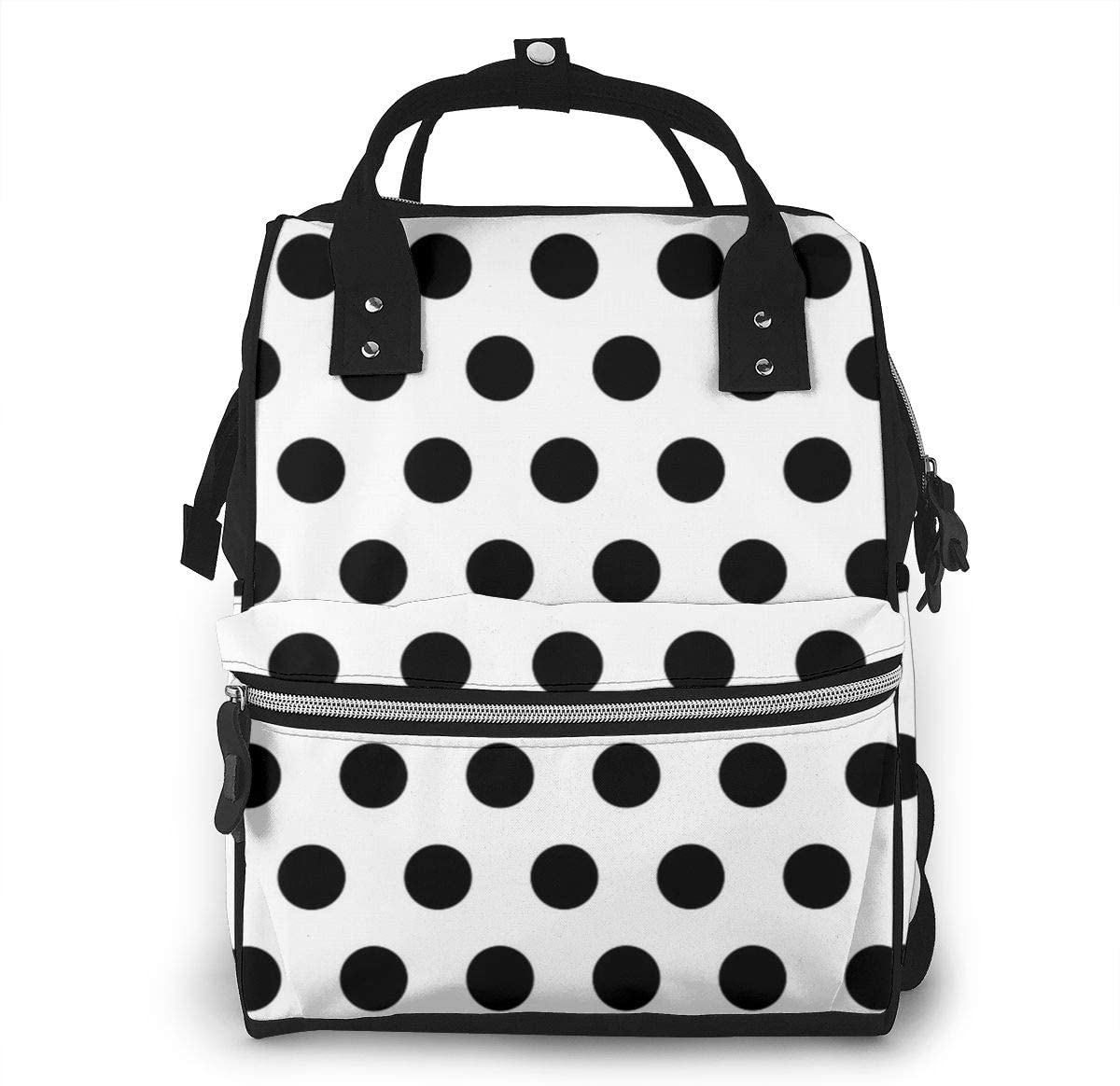 NiYoung Diaper Bag Backpack,Stylish Baby Nappy Bags for Mom and Dad,Waterproof,Multi-Function Travel Back Pack for Boys and Girls,Large Capacity and Durable,Black Polka Dot Pattern