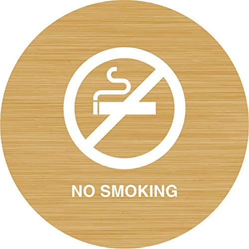 iCandy Products Inc No Smoking, Cigerette Hotel Business Office Building Sign 12 Inches Round, Bamboo, Plastic