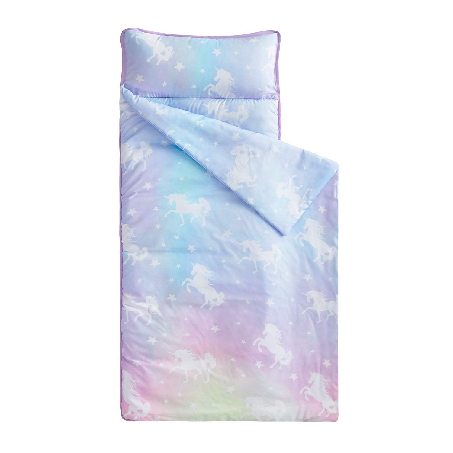 Wake In Cloud - Nap Mat with Removable Pillow for Kids Toddler Boys Girls Daycare Preschool Kindergarten Sleeping Bag, Colorful Unicorns Stars, 100% Soft Microfiber (55