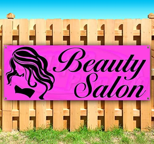 Beauty Salon 13 oz Heavy Duty Vinyl Banner Sign with Metal Grommets, New, Store, Advertising, Flag, (Many Sizes Available)