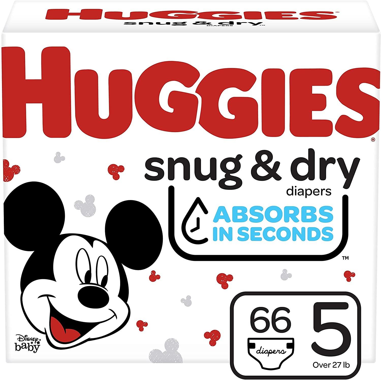 Huggies Snug & Dry Baby Diapers, Size 5, 66 Ct