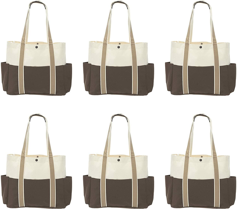DUAL COLOR SHOULDER TOTE BAGS - 6 pack - Brown