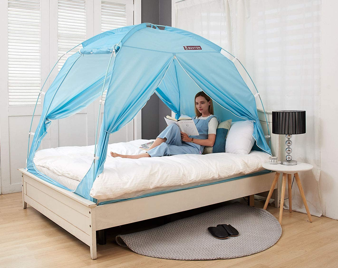 BESTEN Floorless Indoor Privacy Tent on Bed with Color Poles for Cozy Sleep in Drafty Rooms (Twin, Mint)