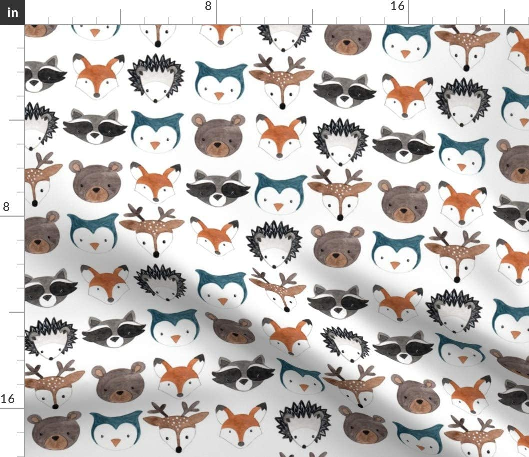 Spoonflower Fabric - Forest, Animal, Woodland, Creatures, Gender Neutral, Nursery, Bear, Printed on Petal Signature Cotton Fabric by The Yard - Sewing Quilting Apparel Crafts Decor