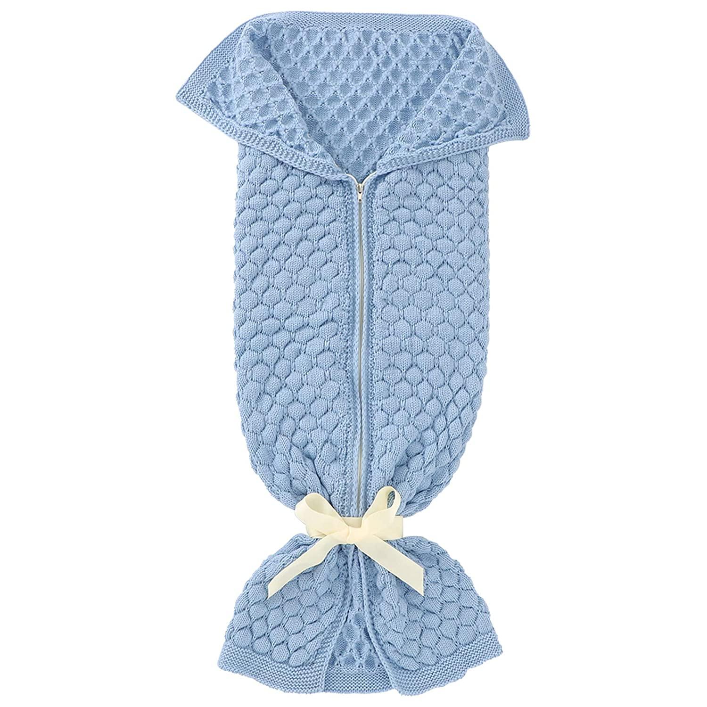 Soapow Baby Knit Sleeping Bag Newborn Infant Swaddle Blanket Stroller Wrap for Baby Boys Girls