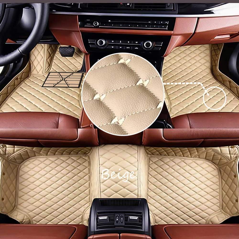 Duobao-us Customize Car Floor Mats Made for Dodge RAM 1500 2500 RAM 1500 RAM 2500 PU Leather Waterproof Anti-Skid Full Coverage Front Mat and Rear Mat/Set (Beige)