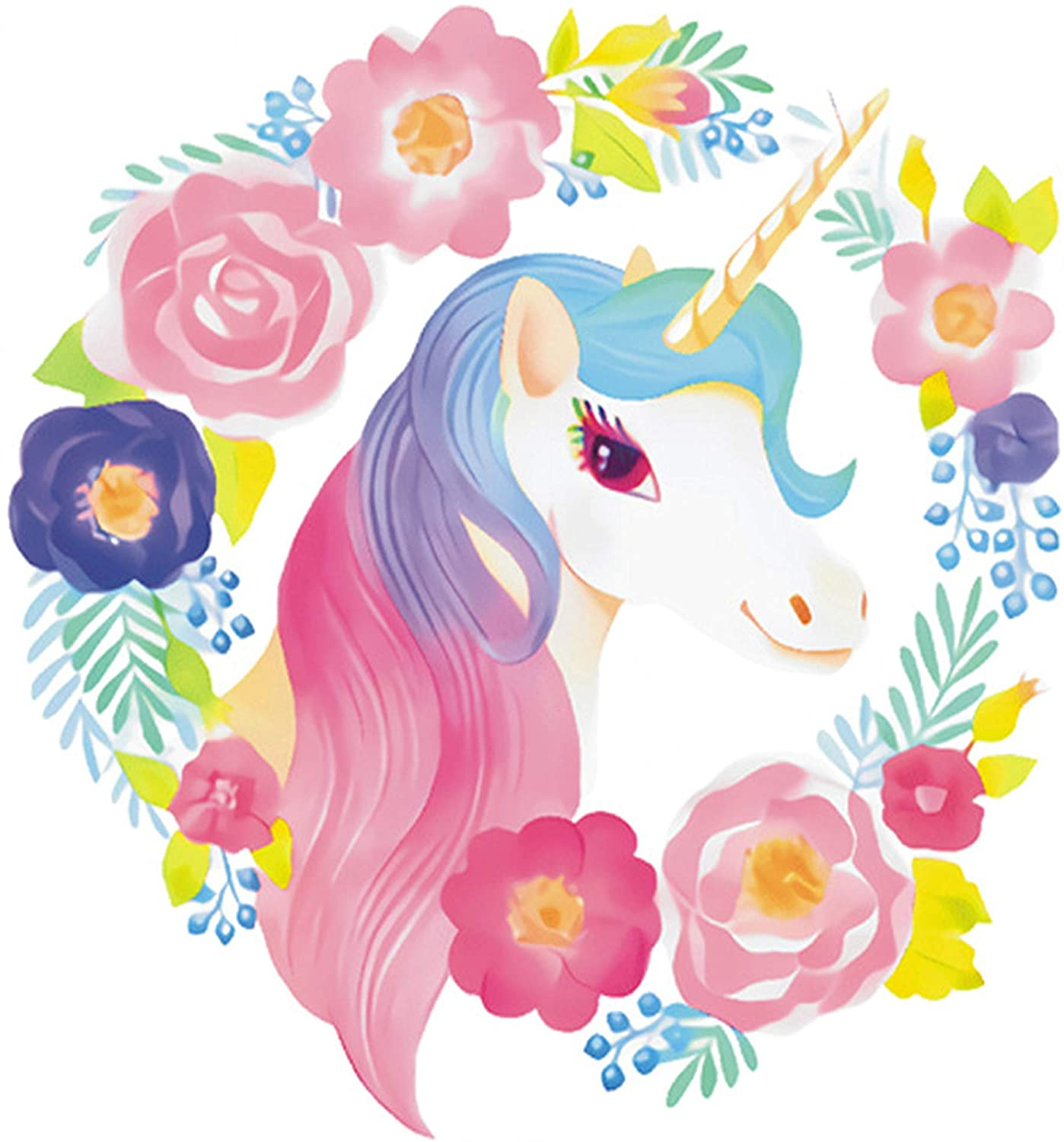 WAFT YEARN Cartoons Unicorn Decals for Girls Room Playroom Nursery Decor Wall Stickers Decoration for Kids and Toddlers Bedroom (Unicorn 3)