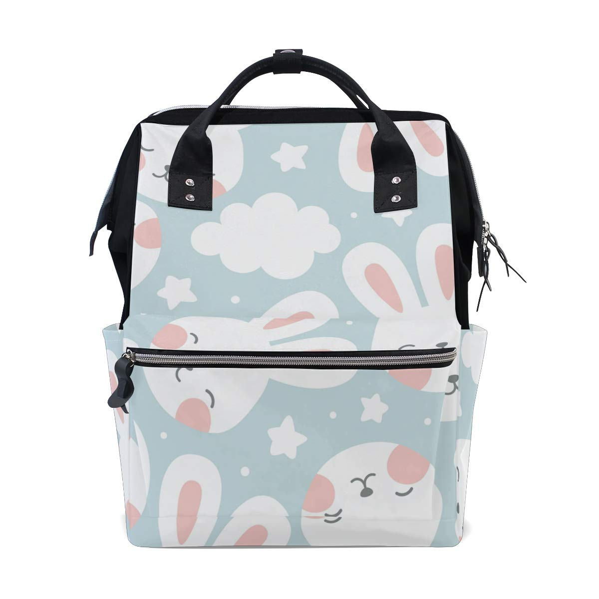 MERRYSUGAR Diaper Bag School Backpack Baby Bag Rabbits Star Blue Large Multifunction Travel Bag Mommy Bag