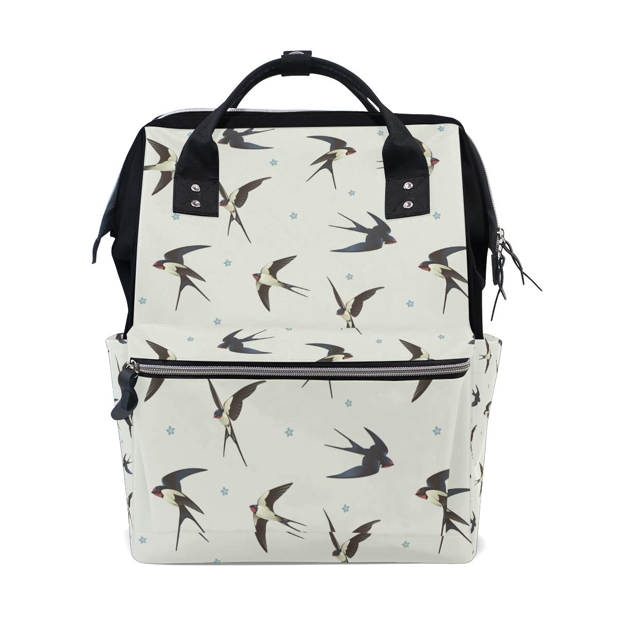 MERRYSUGAR Diaper Bag Backpack Travel Bag Large Multifunction Waterproof Swallow with Star White Stylish and Durable Nappy Bag for Baby Care School Backpack