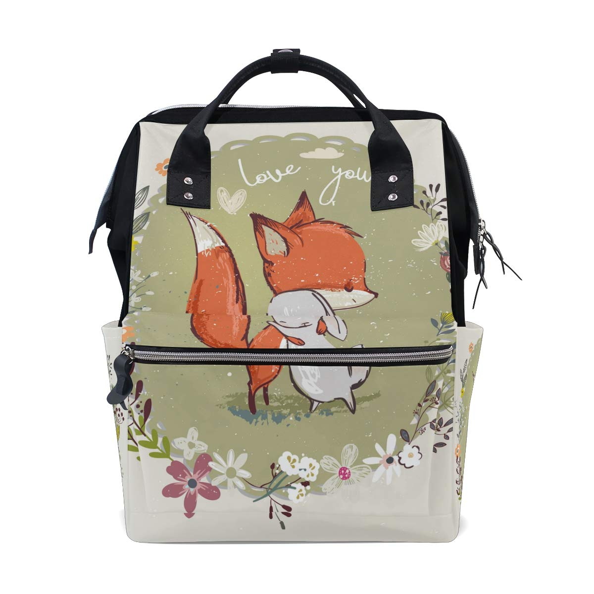 MERRYSUGAR Diaper Bag Backpack Travel Bag Large Multifunction Waterproof Cartoon Fox with Floral Stylish and Durable Nappy Bag for Baby Care School Backpack