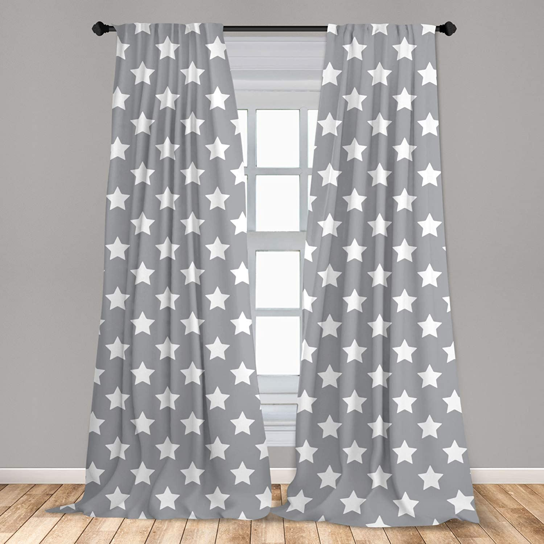 Ambesonne Star 2 Panel Curtain Set, Big Stars Pattern Monochrome Modern Baby Nursery Design Starry Night Themed, Lightweight Window Treatment Living Room Bedroom Decor, 56 x 63, Grey Blue