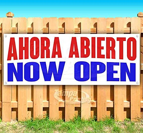 AHORA ABIERTO Now Open 13 oz Heavy Duty Vinyl Banner Sign with Metal Grommets, New, Store, Advertising, Flag, (Many Sizes Available)