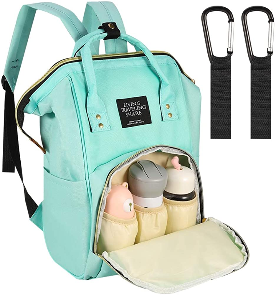 Auxsoul Diaper Bag Backpack for Mom & Dad Waterproof Baby Bags with Stroller Straps, Thermal Pockets