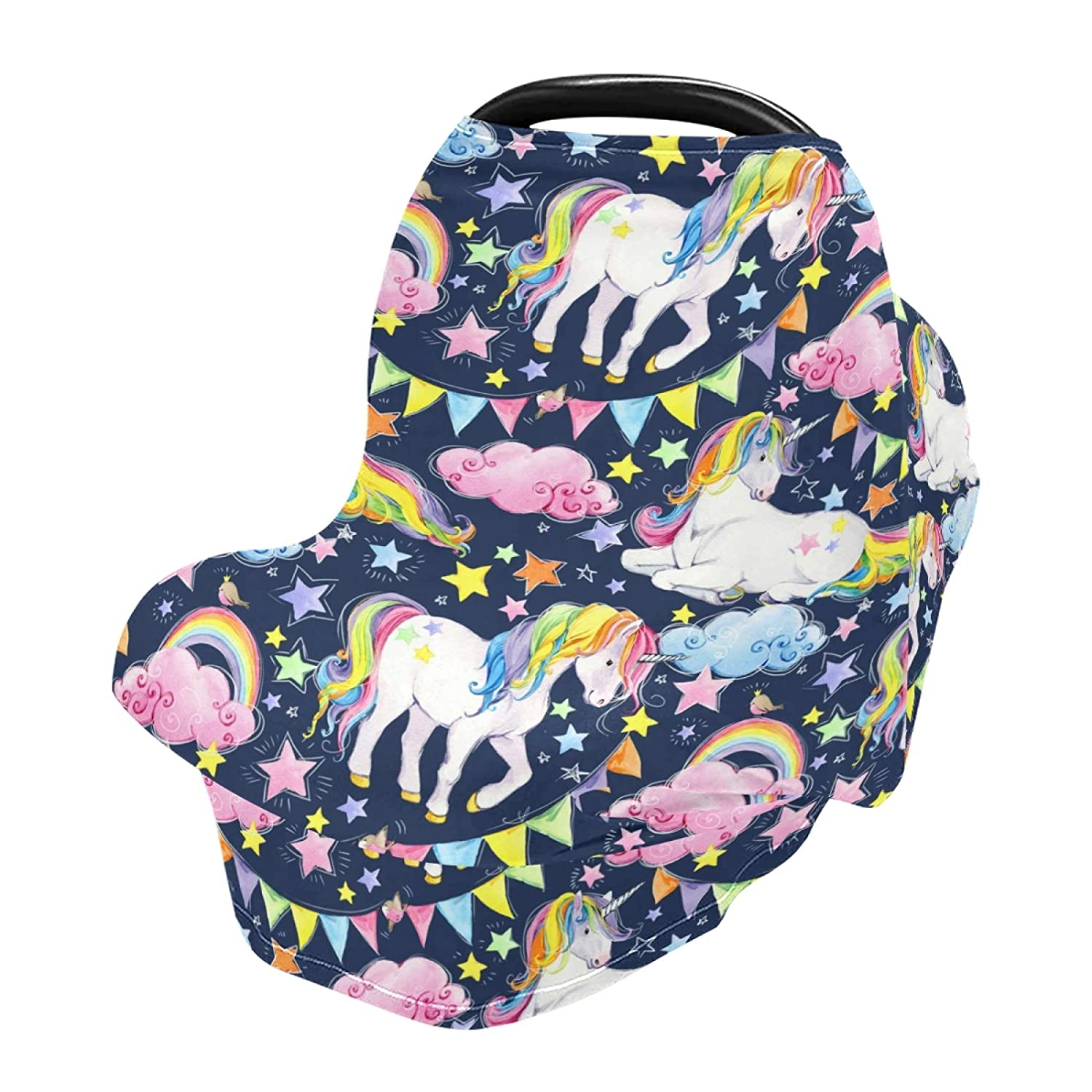Baby Car Seat Cover Unicorn Star and Cloud Nursing Covers Breastfeeding Scarf Infant Carseat Canopy for Mom Baby Gift