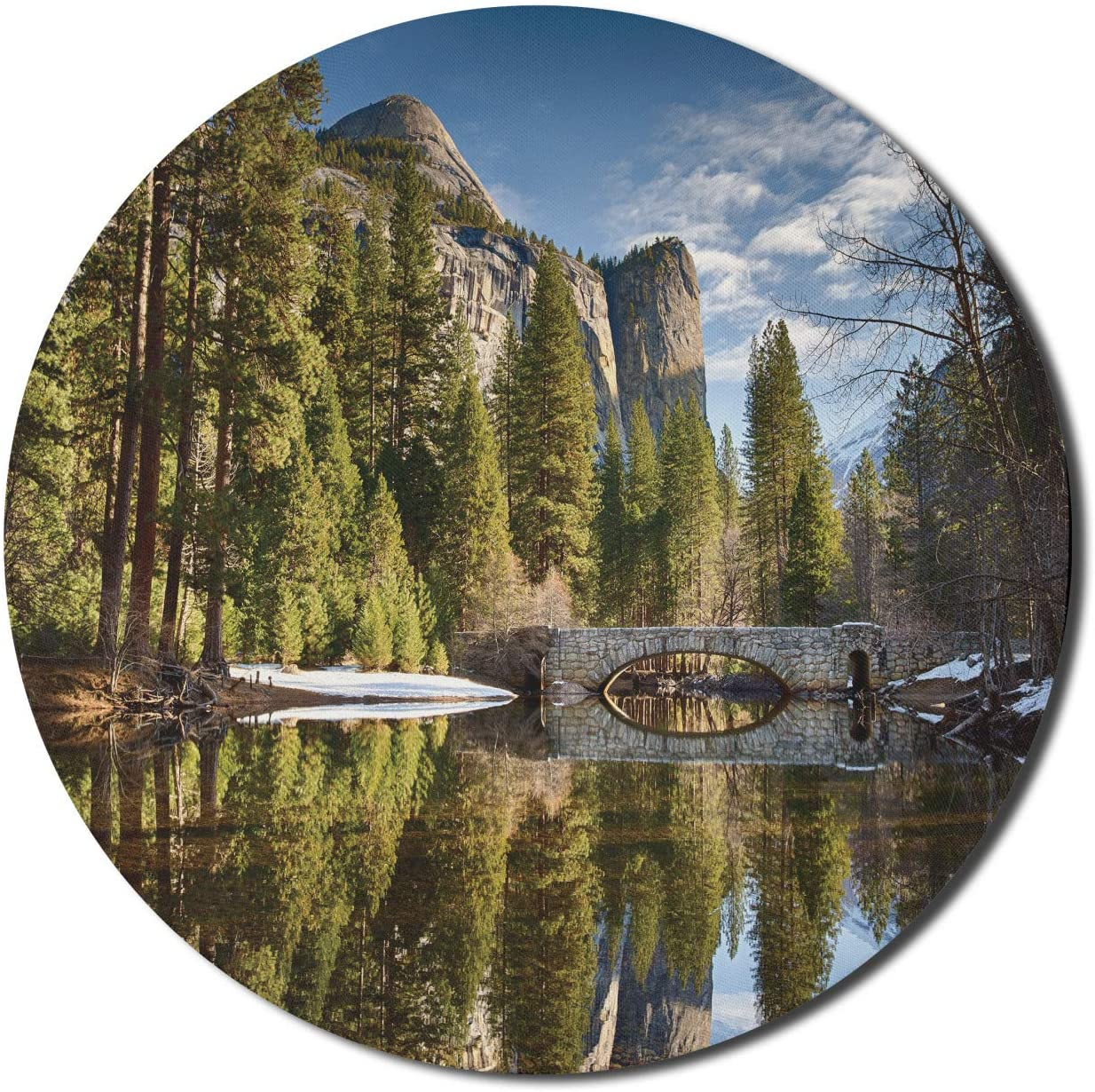 Lunarable Yosemite Mouse Pad for Computers, Stoneman Bridge in Morning at Yosemite National Park Winter with Evergreen Trees Print, Round Non-Slip Thick Rubber Modern Gaming Mousepad, 8
