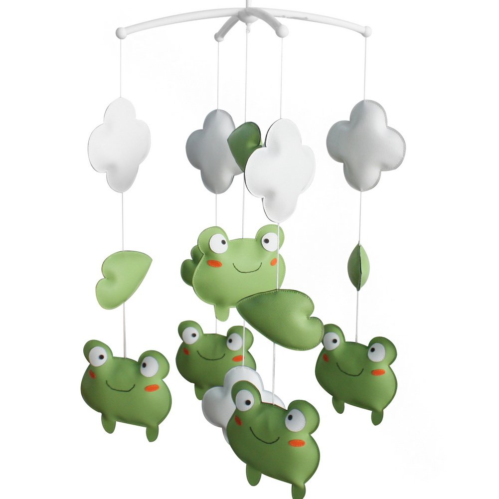 [Cute Frogs] Nursery Rotatable Musical Mobile for Crib Decoration