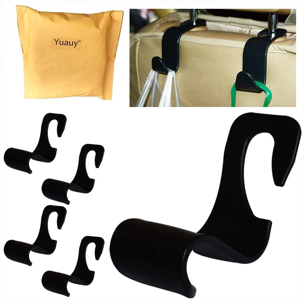 Yuauy Car Vehicle Back Seat Headrest Hook - 4 Pack Back Seat Hanger Storage for Purse Groceries Bag Handbag Car Seat Organizer Accessory