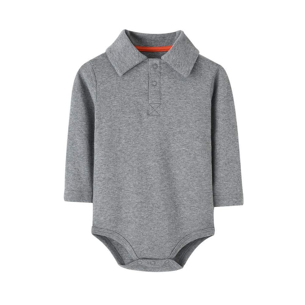 Teach Leanbh Infant Baby Polo Bodysuit Cotton Long Sleeve Pure Color Shirt 3-24 Months (9 Months, Grey)