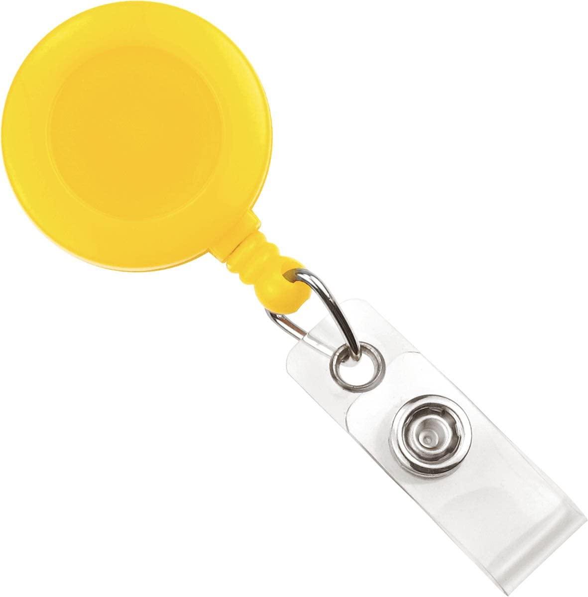Yellow Badge Reel W/Clear Vinyl Strap & Belt Clip (25/Bag)