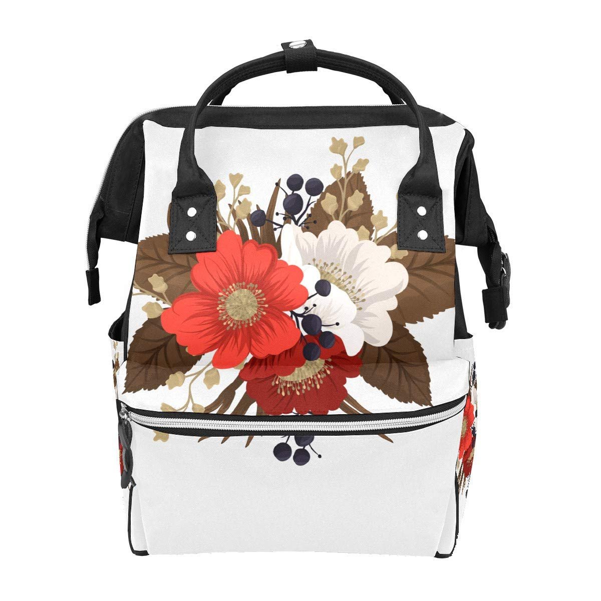 Diaper Bag Backpack Red Clipart Flower Multifunction Travel Back Pack Baby Changing Bags Large Capacity Waterproof Stylish