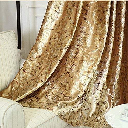 MYRU 2 Panels Set European Style Living Room Gold Curtains Room Darkening Luxury Curtains for Villa (2 x 54x84 Inch)