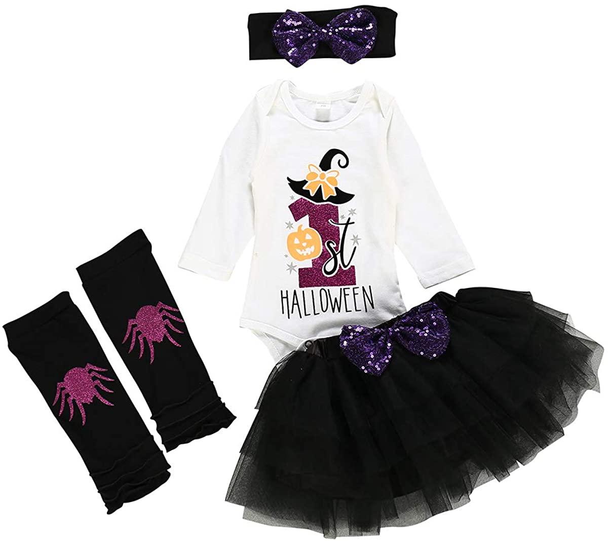 Toddler Baby Girls Outfit My First Halloween Top Romper+ Tutu Skirt+ Leg Warmer +Headband 4Pcs Outfit Set
