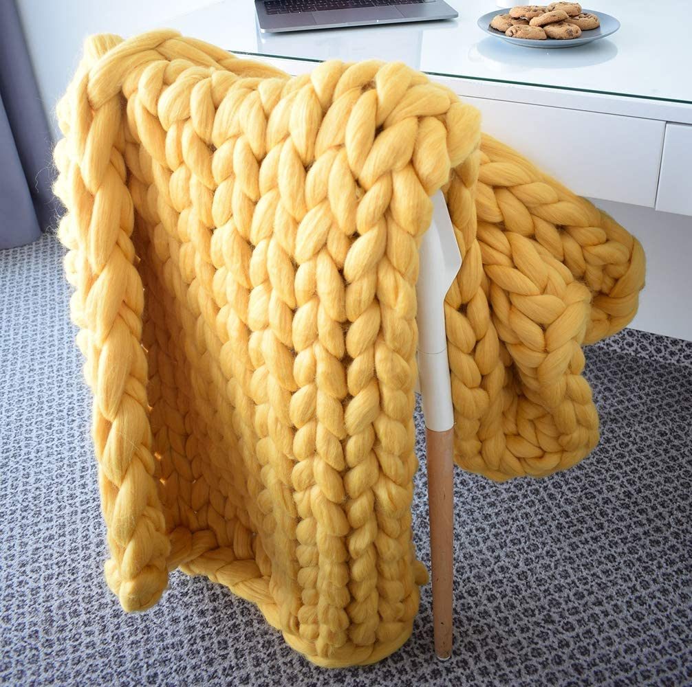 EASTSURE Chunky Knit Blanket Bulky Bed Throw Hand-Made Supre Large Chair Mat Rug,Yellow,60