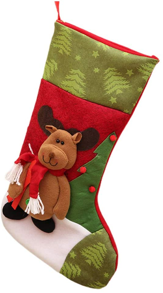 Festive CHRISTMAS Stocking Elk Patterned Sock Xmas Party CHRISTMAS Tree Hanging Ornament Gift Bag