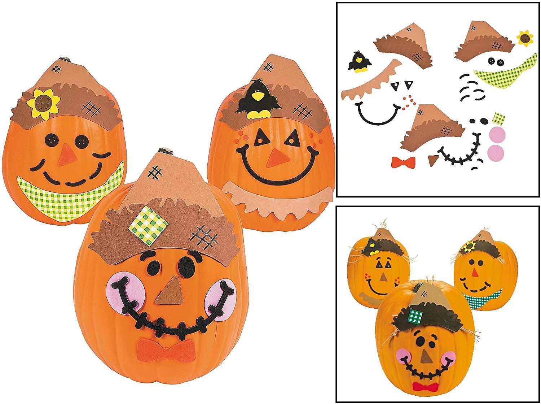 Scarecrow Halloween Pumpkin Decorating Kit - Decorates 12 Pumpkins - Fall Crafts for Kids