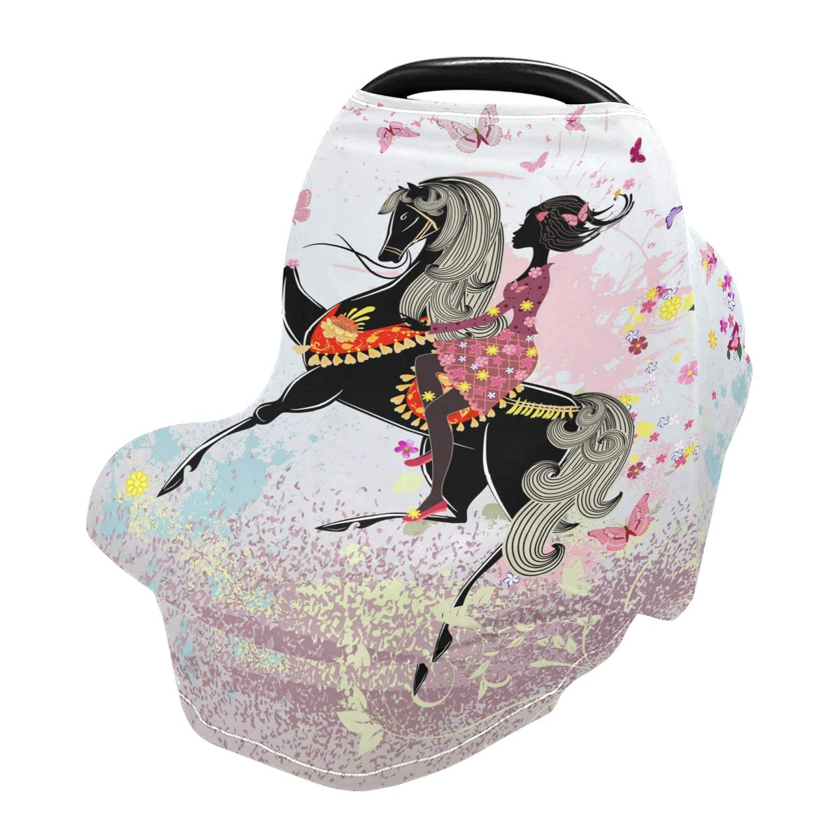 Baby Car Seat Cover Girl with Butterflies Nursing Covers Breastfeeding Scarf Infant Carseat Canopy for Mom Baby Gift